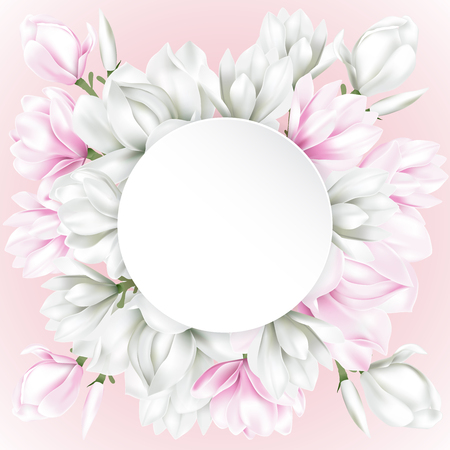winter garden: White round paper decorated with white and pink magnolia blossom flowers on sweet background. Vector illustration.