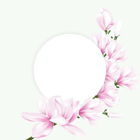Vector illustration of white round paper decorated with pink magnolia blossom flowers branch. Illustration