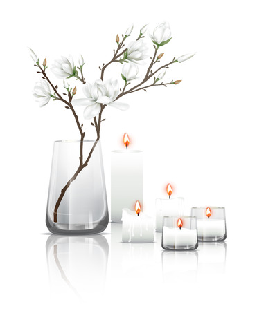 reflection: Branches of white magnolia flowers in a clear glass and burning candles with reflection on the floor. Vector illustration on white background.