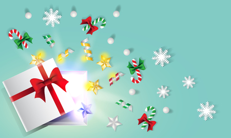Christmas and new year background decorated with stars, pearl, ribbons, snowflake, candy cane and opened gift box shinning. Vector illustration.