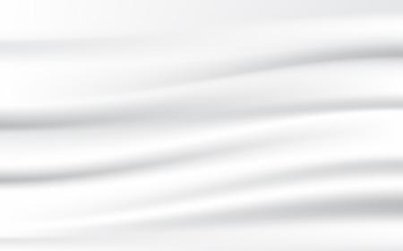 抽象的な白い繊維、滑らかで、絹のようなファブリックが揺れます。ベクトル図のテクスチャ背景。