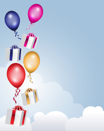 Gift boxes decorated with ribbon bow flying in the clouds with colorful balloons. Illustration