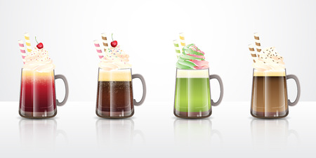 Collection of ice cream float drinks recipes in clear glass mugs, ideas for summer party beverages. Vector illustration. 矢量图像