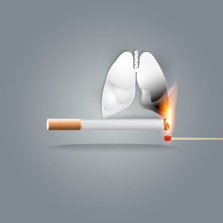 World no tobacco day, 31 May, a concept for stop smoking. Cigarette smoking is the number one risk factor for lung cancer. Smoking can kill you. Vector illustration. Ilustrace