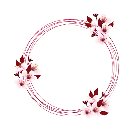 Circle lines as wreath decorated with cherry blossom bouquets, sakura sweet pink flowers with copy-space. Vector illustration.