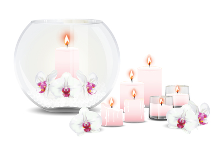 Bubble vase decorated with phalaenopsis orchids or moth orchid flowers, crystal balls and candles with flame. Vector illustrator.