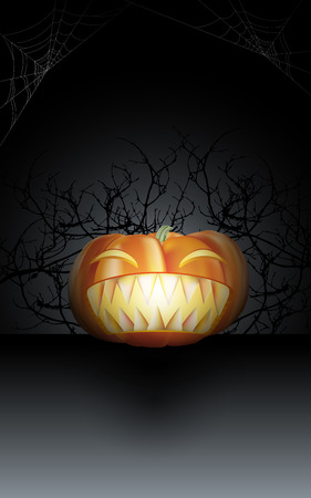 Carving halloween pumpkin with big scary teeth in the dark night with dry twigs and spider webs. Vector illustration. Stock Illustratie