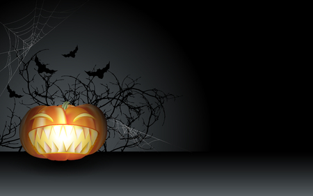 Carving halloween pumpkin with big scary teeth in the dark night with dry twigs, spider webs and bats. Vector illustration.