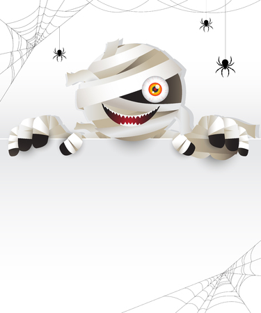 Ancient mummy zombie, ghost character haunting behind white frame decorated with spider and spider webs. Vector illustration for halloween.