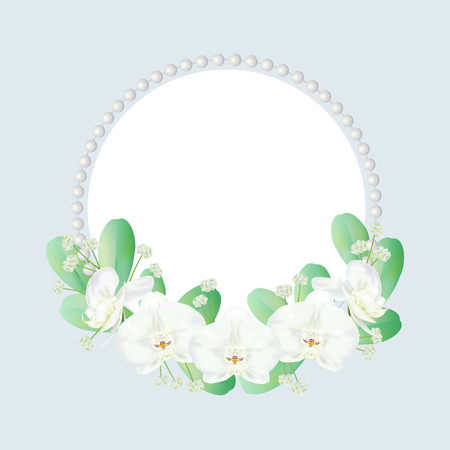 Wreath decorated with white tropical orchid flowers known as moth orchids or white phalaenopsis orchid blossoms, leaves, small flowers and pearls. Vector illustration.