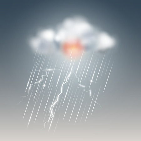 Weather icon, storm with cloud. Vector illustration. Stock Illustratie