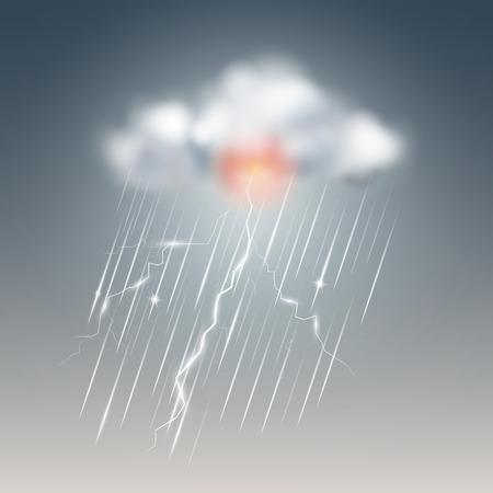 Icône météo, tempête avec nuage. Illustration vectorielle.