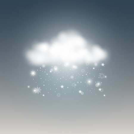 Weather icon, snow with cloud. Vector illustration. Stock Illustratie