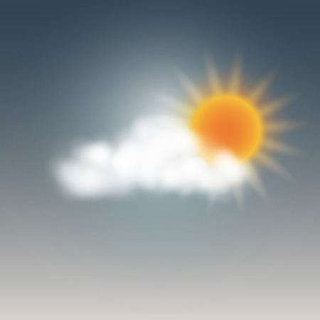 Weather icon, sunny with cloud. Vector illustration.