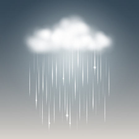 Weather icon, rainy with cloud. Vector illustration.