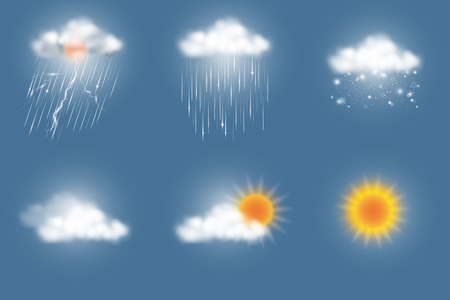 Weather icons set, storm, rainy, snow, cloudy, partly cloudy, sunny. Vector illustration.
