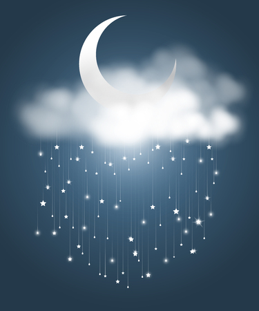 The crescent moon and clouds with meteor showers look like rainy night. A abstract astronomy background. Vector illustration.