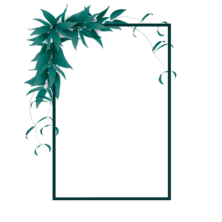 Frame for text decorated with summer green leaves on white background. Vector illustration.