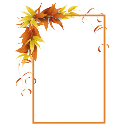 Frame for text decorated with autumn leaves and vine on white background. Vector illustration.