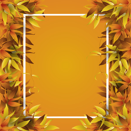 Frame for text decorated with autumn fall leaves. Vector illustration. Stock Illustratie