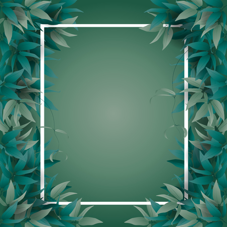 Frame for text decorated with summer green jungle leaves. Vector illustration.