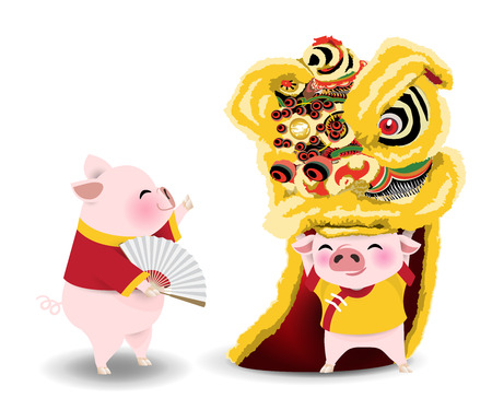 Cartoon character for year of pig. Little pigs performing Chinese lion dance on white background. Vector illustration.