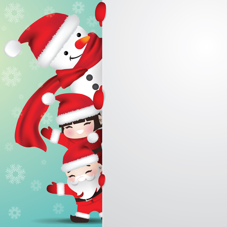Snowman and children with santa costumes behind white blank paper as copy space. Vector illustration for Christmas and New year.