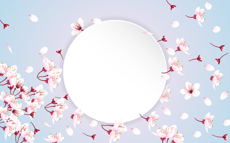 White round paper for copy space with flying and falling cherry blossom flowers on sweet color background. Vector illustration. Stock Illustratie