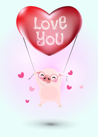 Idea for year of pig. Little pig flying with heart balloon. Red heart shape balloon decorated with word, love you. Vector illustration for Valentine's day. Stock Illustratie