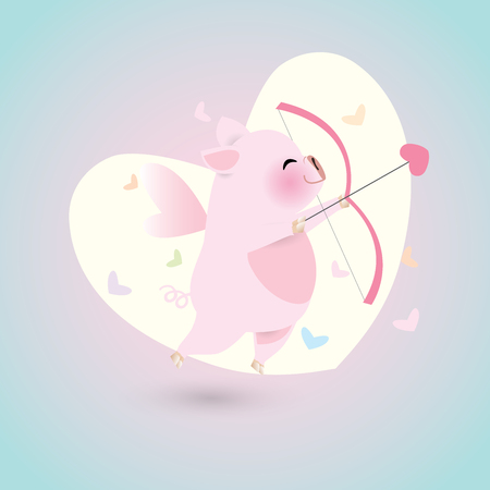 Idea for year of pig. Little cupid pig flying with heart shape arrow and bow on A big heart shape glowing like the moon. Vector illustration for Valentine's day.