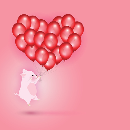 Idea for year of the pig. Little pig flying with group of red balloons look like a heart shape. Vector illustration for Valentine's day. Stock Illustratie
