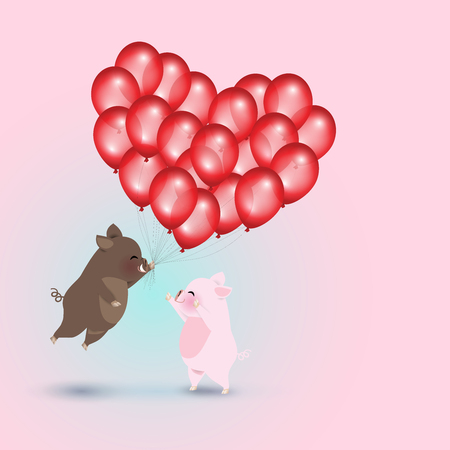 Idea for year of the pig. Little wild boar flying with balloons to little pig. Group of balloons look like a heart shape. Vector illustration for Valentine's day.