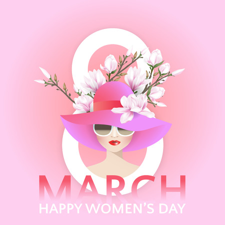 Fashion woman with red lips in hat and wear sunglasses on white number 8 decorated with pink magnolia flowers branch on sweet pink background for March 8, Internationl women's day. Vector illustration.