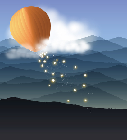 Hot air balloon and clouds flying over the mountains landscape and spread the shining stars. Vector illustration background.