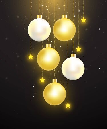 Christmas balls with gold and pearl color hanging on starry night background. Vector illustration for Christmas and New year celebration.