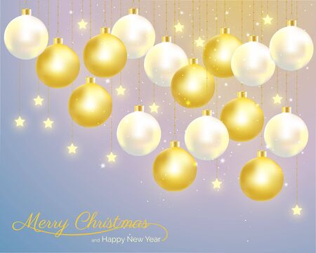 Christmas balls with gold and pearl color hanging on starry sky background. Vector illustration for Christmas and New year celebration. Stock Illustratie
