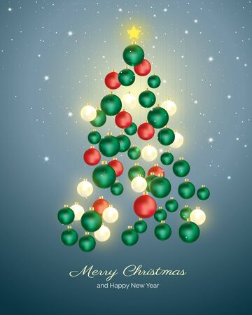 Christmas tree made with red green and pearl Christmas balls hanging on starry sky background. Vector illustration for Christmas and New year celebration. Stock Illustratie