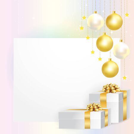 Empty card decorated with gold and pearl Christmas balls and gold ribbons gift boxes for Christmas and New Year celebration. Vector illustration.