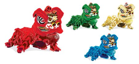 set of chinese lion dance on white background. Vector illustration.