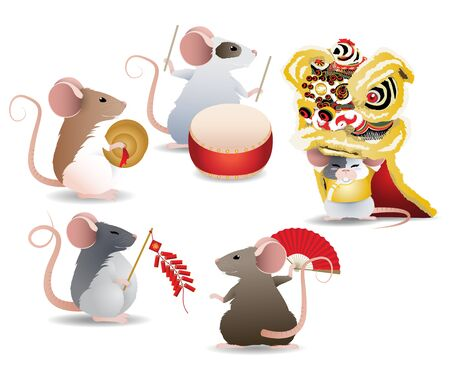 Rats perform lion dance, play firecracker, drum and cymbals for celebrate Chinese festivals or big occasions for year of the rat celebration. Vector illustration on white background.