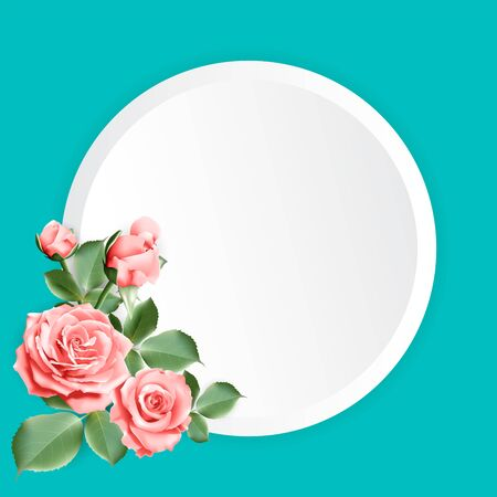 Round paper for your text decorated with peach color roses with leaves on blue green background. Vector illustration. Stock Illustratie