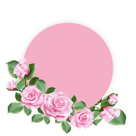 Pink round paper for your text decorated with sweet pink roses and leaves on white background. Vector illustration. Stock Illustratie