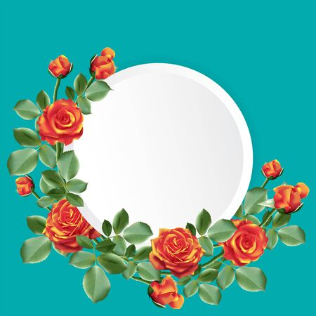 Round paper for your text decorated with a bouquet of orange color roses with leaves on blue green background. Vector illustration.