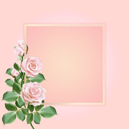 Realistic rose flower, bouquet of sweet roses with leaves decorated on a frame. Vector illustration.