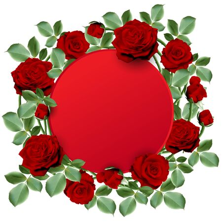 Red round paper for your text decorated with bouquet of red hot roses with leaves on white background. Vector illustration.