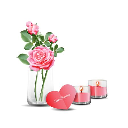 Pink roses in a clear glass with greeting card and scented candles. Vector illustration on white background.