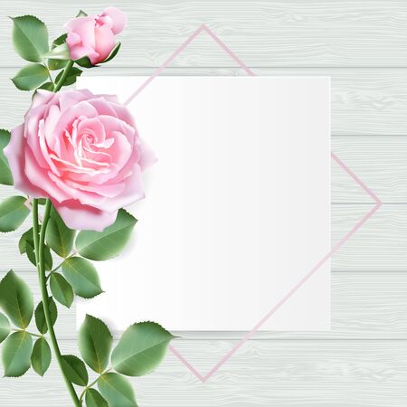 Frame decorated with sweet pink rose flowers with leaves on wooden table top background. Vector illustration. Stock Illustratie