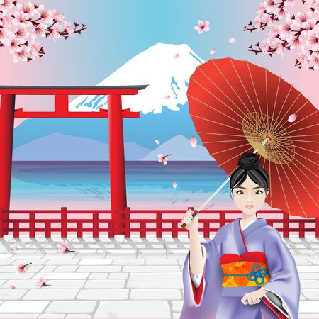 Japanese girl wearing national dress, Kimono, and holding umbrella with Fuji mountain and cherry blossom branches background. Vector illustration.