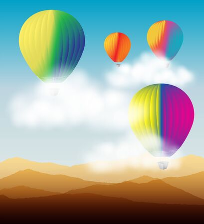 Colorful hot air balloons flying on the blue sky and clouds over the desert mountains landscape.Vector illustration background. Stock Illustratie