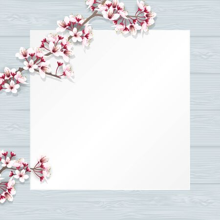 Cherry blossom branches, sakura flower branches, with empty paper for your text on wooden table top. Vector illustration.